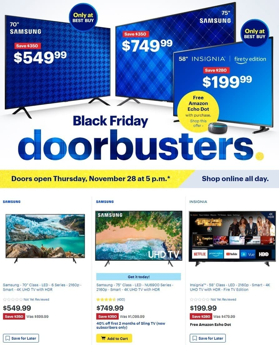 "Best Buy Black Friday: 70"" Samsung UN70NU6070FXZA 6 Series 4K UHD TV for $549.99"