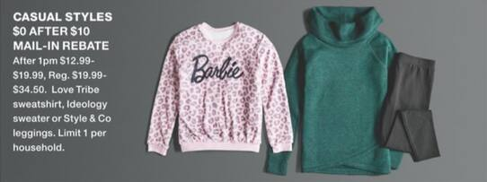Macy's Black Friday: Love Tribe Sweatshirt, Ideology Sweater or Style & Co Leggings for Free after $10 rebate