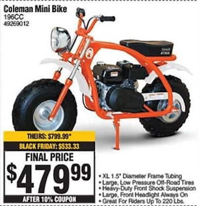 Swell Rural King Black Friday Coleman Gas Powered 196Cc Mini Bike Cjindustries Chair Design For Home Cjindustriesco
