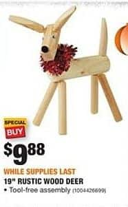 Home Depot Black Friday: 19'' Rustic Wood Deer for $9.88