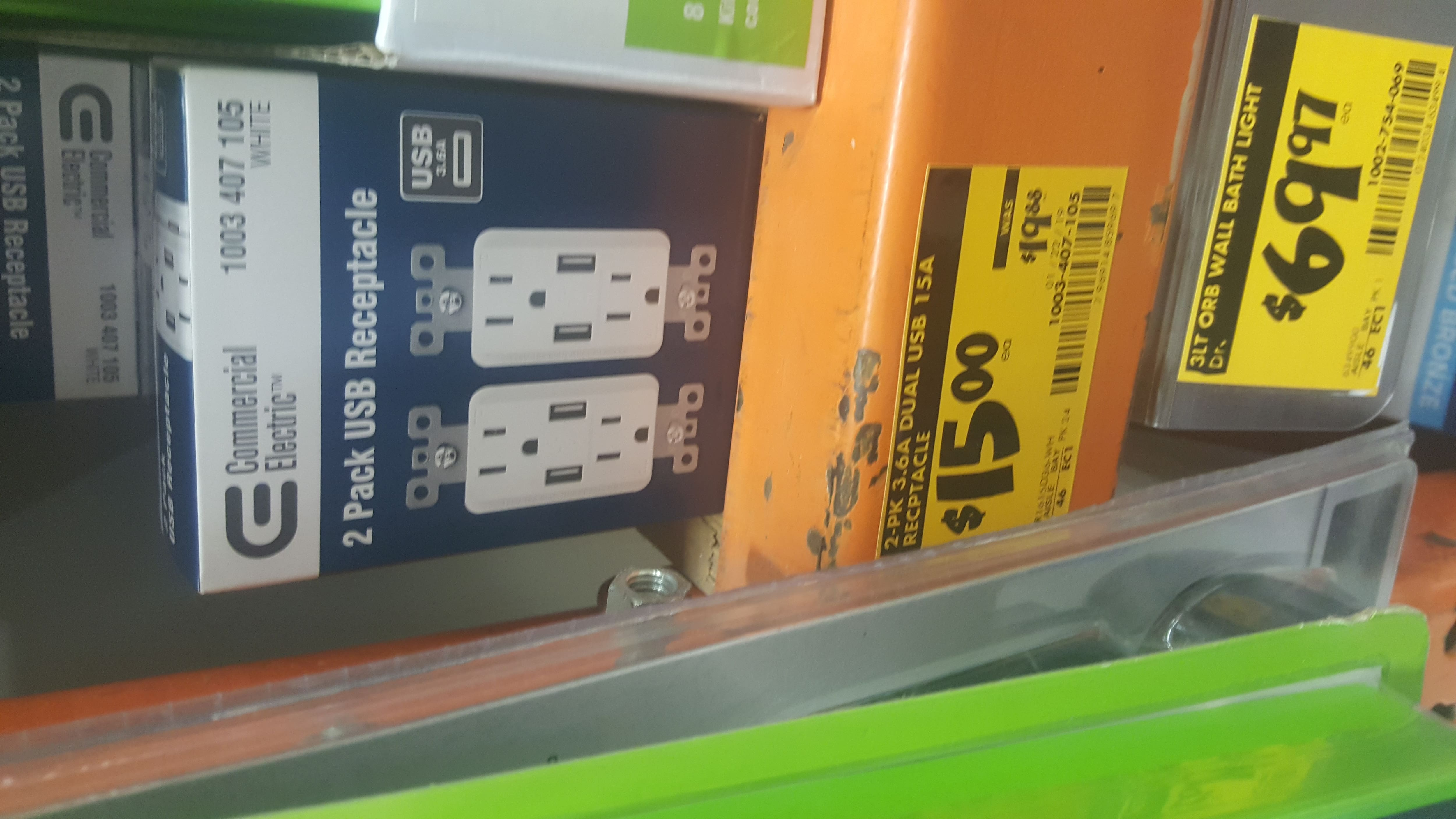 Commercial electric 2pk dual usb receptacle $15 at home depot  YMMV