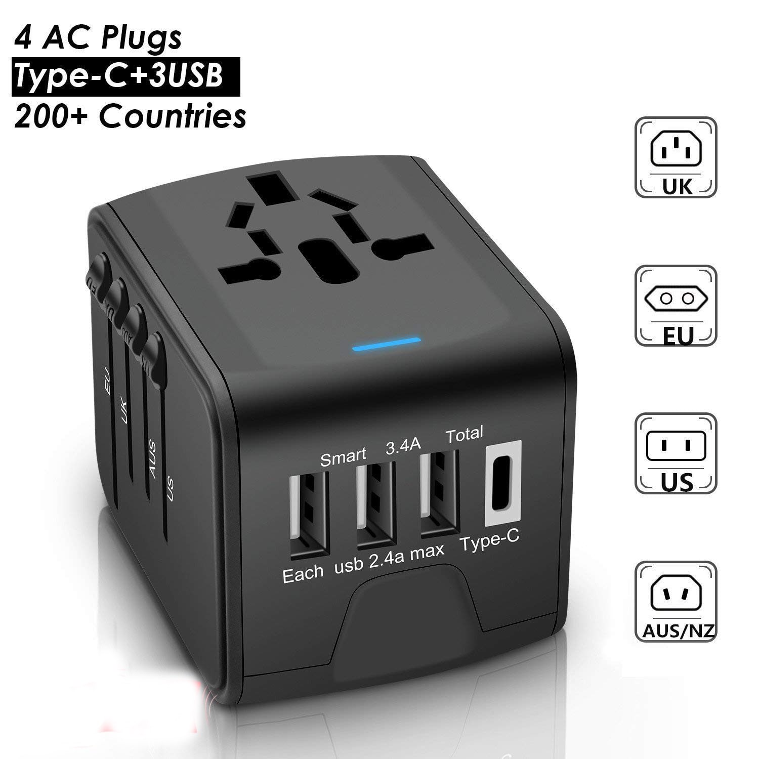 Universal Travel Adapter With 3 4a Type C 4 Usb Smart Quick Charging Ports 5 95