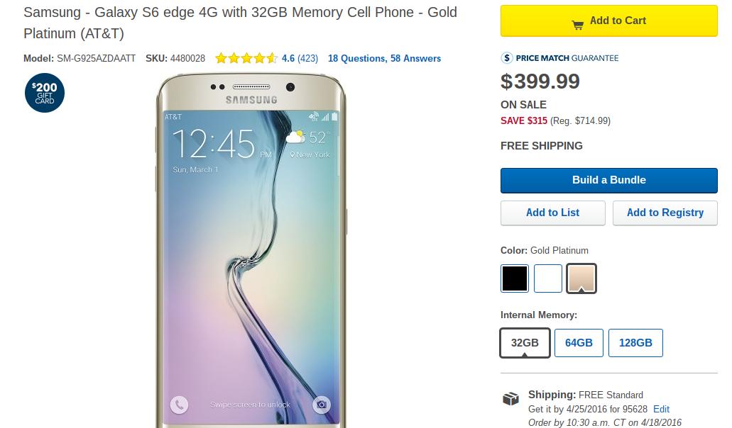 Samsung Galaxy S6 Phones (AT&T) Sale @ Best Buy $399/32GB Edge +$200GC