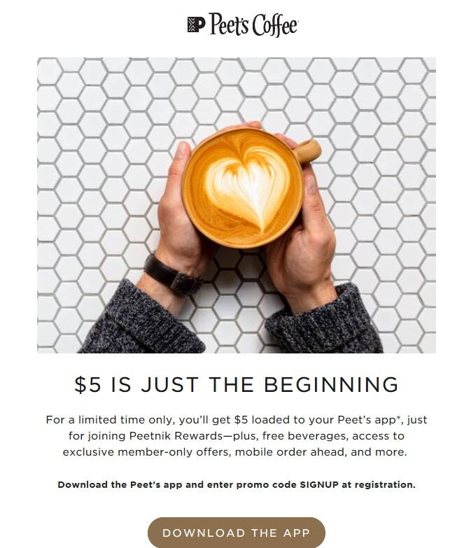 Free $5 at Peet's coffee for joining Peetnik Rewards(Peet's Coffee App)