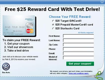 YMMV Free $25 Visa Card for test driving VW
