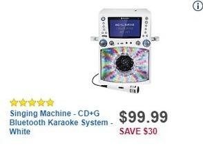 Best Buy Black Friday: Singing Machine - CD+G Bluetooth Karaoke System - White for $99.99