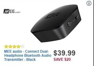 Best Buy Black Friday: MEE audio - Connect Dual-Headphone Bluetooth Audio Transmitter - Black for $39.99