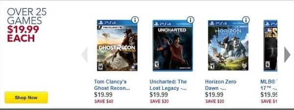 Best Buy Black Friday: Tom Clancy's Ghost Recon Wildlands, Uncharted: The Lost Legacy, Horizon Zero Dawn and More Games for PS4/Xbox One for $19.99