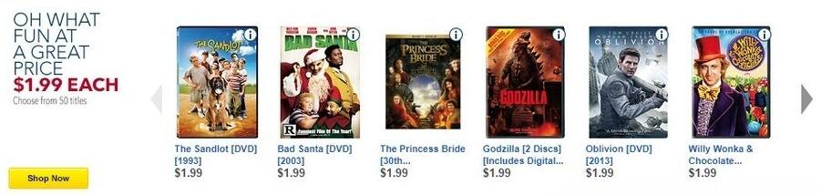 Best Buy Black Friday: The Sandlot, Bad Santa, The Princess Bride, Godzilla and More Movies for $1.99