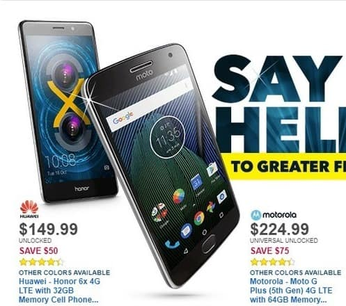 Best Buy Black Friday: Motorola Moto G Plus (5th Gen) 4G LTE with 64GB Memory Cell Phone (Unlocked) - Lunar Gray for $224.99