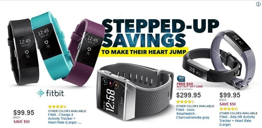 Best Buy Black Friday: Fitbit Ionic Smartwatch - Charcoal/Smoke Gray + $50 BestBuy Gift Card for $299.95
