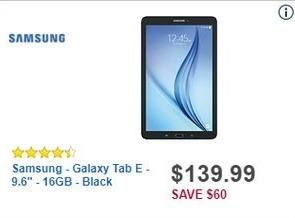 "Best Buy Black Friday: 16GB Samsung Galaxy Tab E 9.6"" Tablet for $139.99"