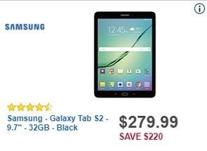 "Best Buy Black Friday: 32GB Samsung Galaxy Tab S2 9.7"" Tablet for $279.99"