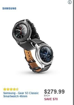 Best Buy Black Friday: Samsung Gear S3 Classic Smartwatch 46mm for $279.99