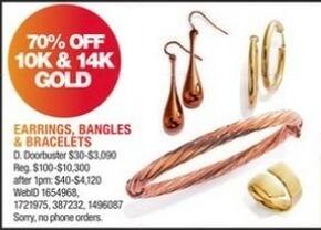 Macy's Black Friday: Earrings, Bangles and Bracelets in 10K & 14K Gold - 70% Off