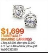 Macy's Black Friday: 2 ct. t.w. Trumiracle Diamond Earrings in 14K White or Yellow Gold for $1,699.00