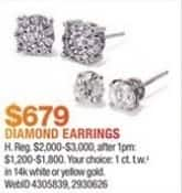 Macy's Black Friday: 1 ct. tw. Diamond Earrings in 14k White or Yellow Gold for $679.00