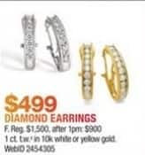 Macy's Black Friday: 1 ct. t.w. Diamond Hoop Earrings in White or Yellow Gold for $499.00