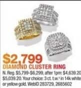 Macy's Black Friday: 3 ct. t.w. Diamond Cluster Ring in 14K White or Yellow Gold for $2,799.00