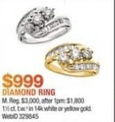 Macy's Black Friday: 1 1/2 ct. t.w. Diamond Ring in 14K White or Yellow Gold for $999.00