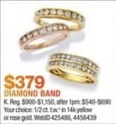 Macy's Black Friday: 1/2 ct. t.w. Diamond Band in 14K Yellow or Rose Gold for $379.00