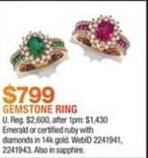 Macy's Black Friday: Emerald or Certified Ruby w/ Diamonds Gemstone Ring in 14K Gold for $799.00