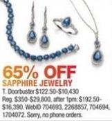 Macy's Black Friday: Sapphire Jewelry - 65% Off