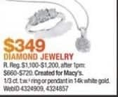 Macy's Black Friday: 1/3 ct. t.w. Diamond Ring or Pendant in 14K White Gold for $349.00