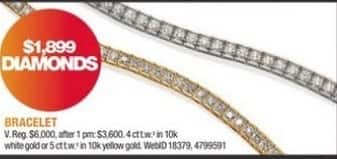 Macy's Black Friday: 4 ct. t.w. Bracelet in 10K White Gold or 5 ct. t.w. in 10K Yellow Gold for $1,899.00