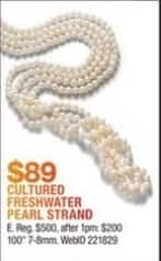 Macy's Black Friday: Cultured Freshwater Pearl Strand for $89.00