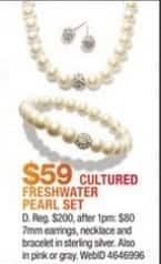Macy's Black Friday: Cultured Freshwater Pearl Earrings, Necklace and Bracelet Set for $59.00