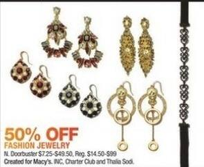 Macy's Black Friday: INC, Charter Club, and Thalia Sodi Fashion Jewelry - 50% Off