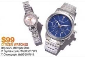 Macy's Black Friday: Citizen Watches, Crystal Accents or Chronograph for $99.00