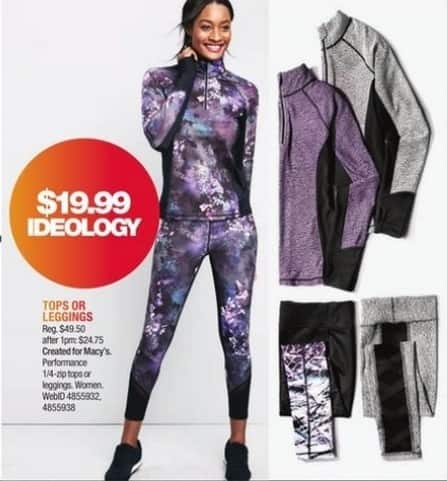 Macy's Black Friday: Ideology Women's 1/4 Zip Tops or Leggings for $19.99