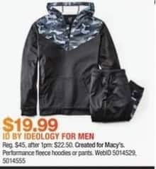 Macy's Black Friday: ID by Ideology For Men Fleece Hoodies or Pants for $19.99
