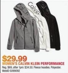 Macy's Black Friday: Calvin Klein Women's Performance Fleece Hoodies for $29.99
