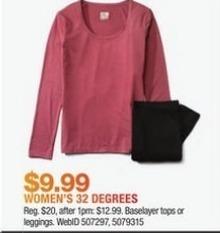 Macy's Black Friday: 32 Degrees Women's Baselayer Tops and Leggings for $9.99