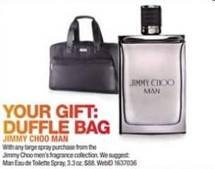 Macy's Black Friday: Duffle Bag w/ Purchase of Any Large Spray From The Jimmy Choo Men's Fragrance Collection for Free