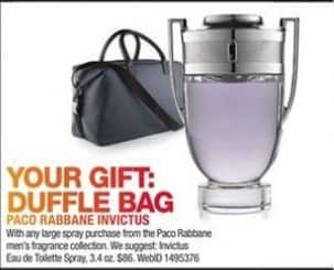 Macy's Black Friday: Duffle Bag w/ Purchase of Any Large Spray From The Paco Rabbane Men's Fragrance Collection for Free