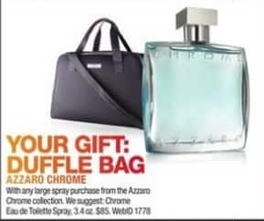 Macy's Black Friday: Duffle Bag w/ Purchase of Any Large Spray From The Azzard Chrome Collection for Free