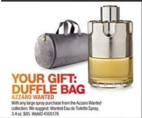 Macy's Black Friday: Duffle Bag w/ Purchase of Any Large Spray From The Azzard Wanted Collection for Free