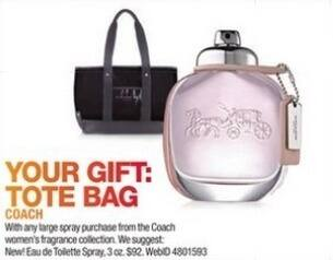 Macy's Black Friday: Tote Bag w/ Purchase of Any Large Spray From The Coach Women's Fragrance Collection for Free
