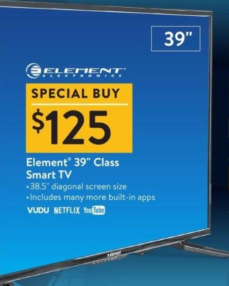 "Walmart Black Friday: 39"" Element Smart TV for $125.00"