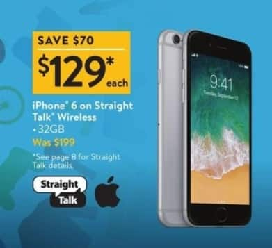 Walmart Black Friday: iPhone 6 Straight Talk Wireless for $129.00