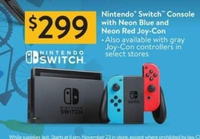 Walmart Black Friday: Nintendo Switch Console w/ Neon Blue and Neon Red Joy-Con Controllers for $299.00