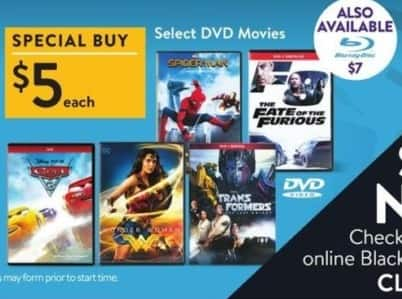 Walmart Black Friday: The Fate of the Furious, Wonder Woman, Cars and More DVD Movies for $5.00