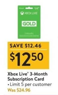 Walmart Black Friday: Xbox Live 3-Month Subscription Card for $12.50