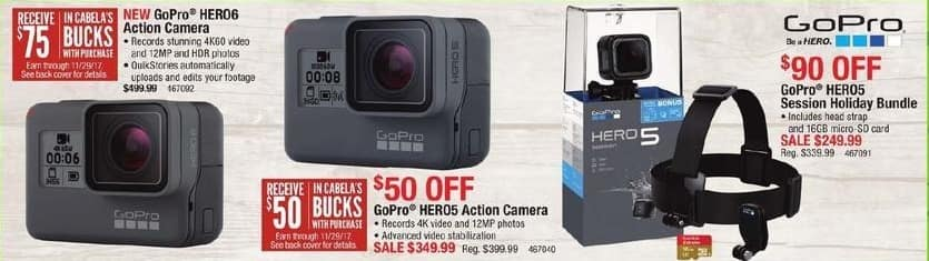 Cabelas Black Friday: GoPro Hero6 Action Camera + 75 in Cabela's Bucks for $499.99