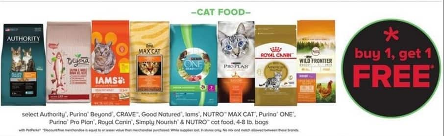 PetSmart Black Friday: Authority, Purina Beyond, Crave, Good Natured, Iams, Nutro Max Cat and More Select Cat Food 4-8 lb Bags. -w/ PetPerks - B1G1 Free