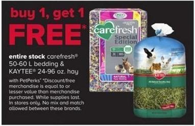 PetSmart Black Friday: Carefresh 50-60 L Bedding & Kaytee 24-96 oz. Hay - w/ PetPerks - B1G1 Free